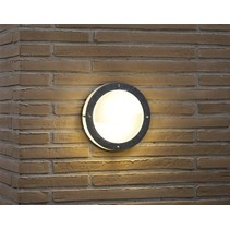 Outdoor wall light deck house round grey 240mm diameter