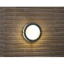 Wandlamp buiten kajuit rond grijs E27 IP54 240mm diameter