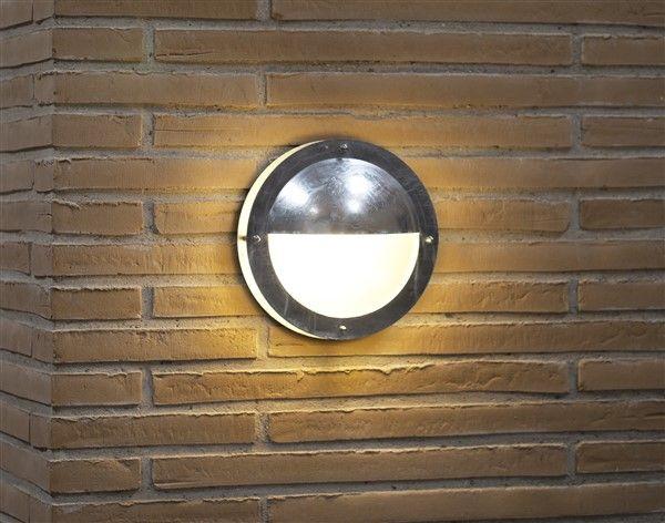 Applique murale exterieure cabine grise ronde demie 240mm for Applique murale exterieure ronde