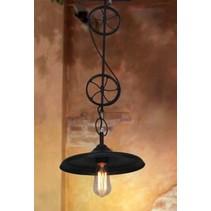 Hanglamp industrieel goedkoop 2 wielen E27 zwart mat 800