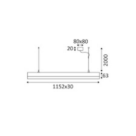 Luminaire suspendu LED long noir, blanc ou gris 1152 18W
