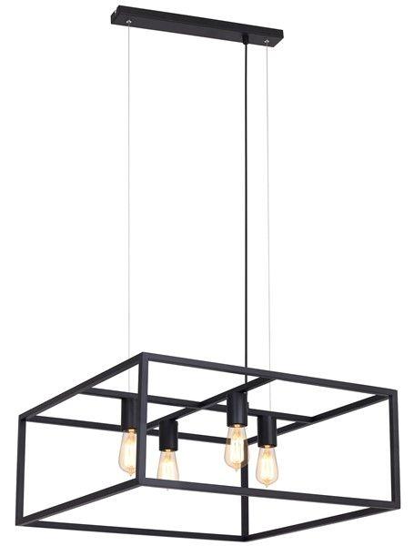 Hanglamp zwart, koper of roest vierkant landelijk E27x4
