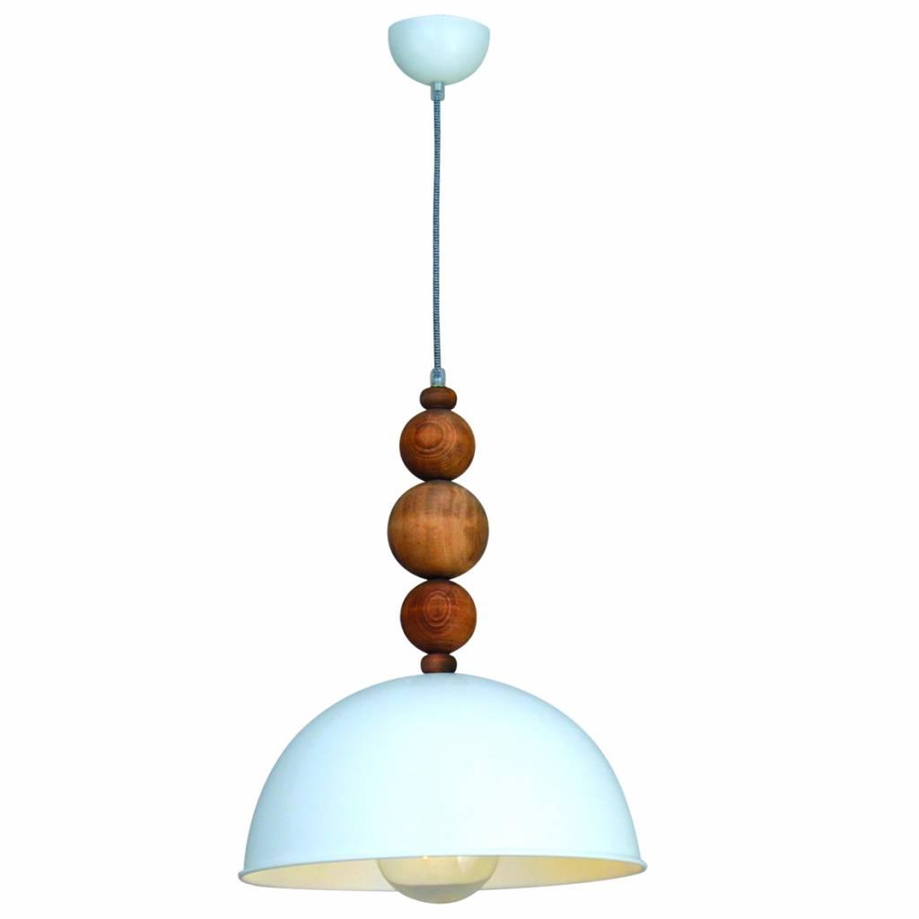 Pendant light design white wood balls 380mm E27