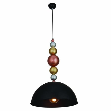 Pendant light design black wood balls 380mm E27