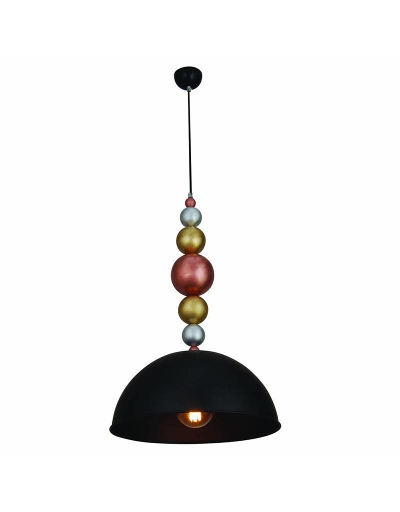 Luminaire suspendu design noir boules bois 380mm e27 for Luminaire suspendu noir