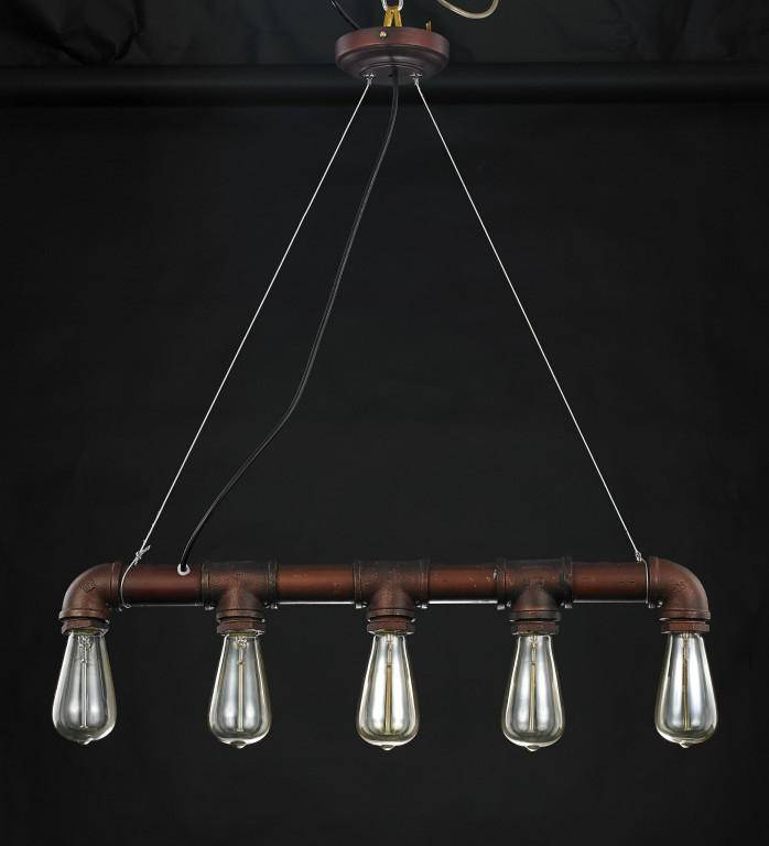 Hanglamp industrieel goedkoop roest 670mm E27x5 | Myplanetled
