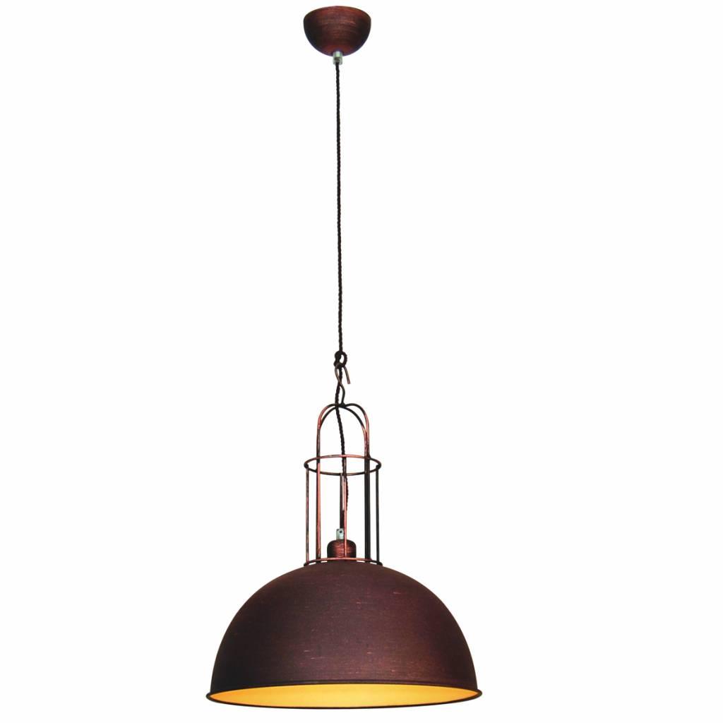 Hanglamp boven eettafel vintage koper bruin grijs 380mm for Hanglamp eettafel