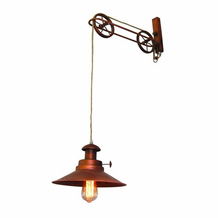 Wall light industrial copper pulleys 290mm Ø