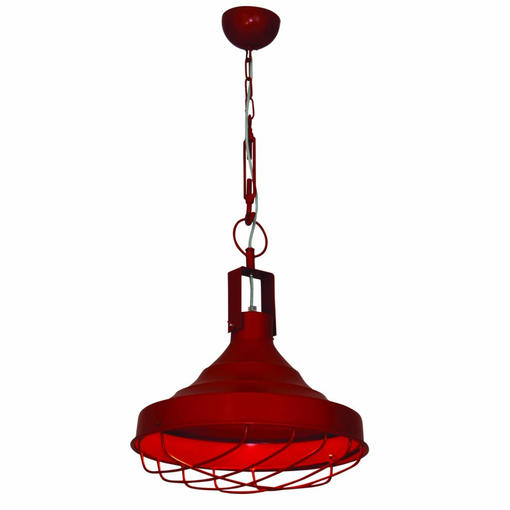 Pendant light industrial with chain red 380mm Ø E27