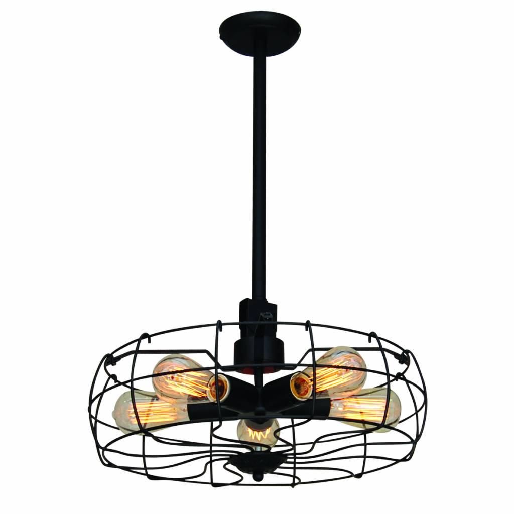 Hanglamp industrieel zwart eetkamer 460mm Ø E27x5 | Myplanetled