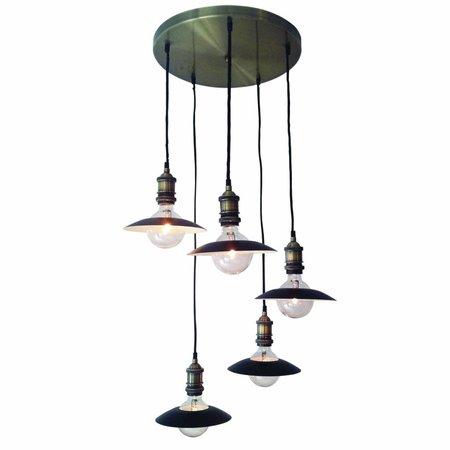 Luminaire suspendu vintage noir bronze 400mm E27x5