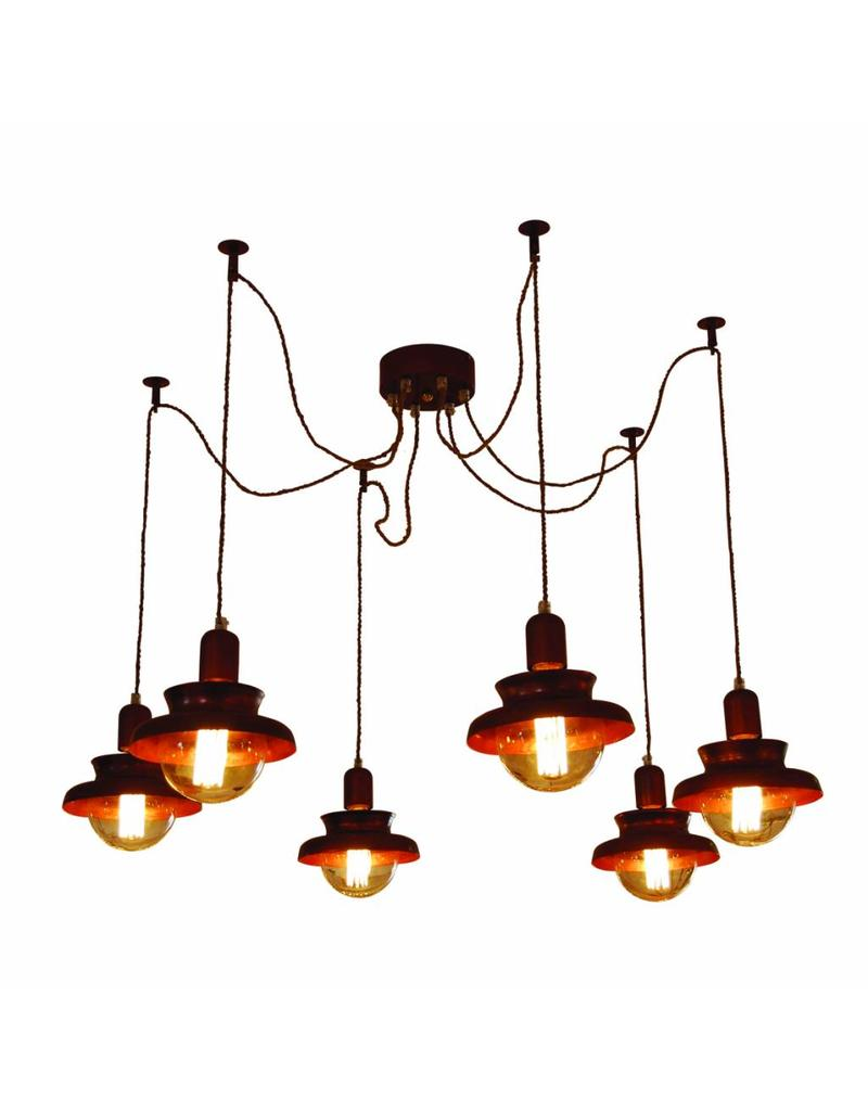 Hanglamp woonkamer industrieel koper 1800mm Ø e27x6   myplanetled