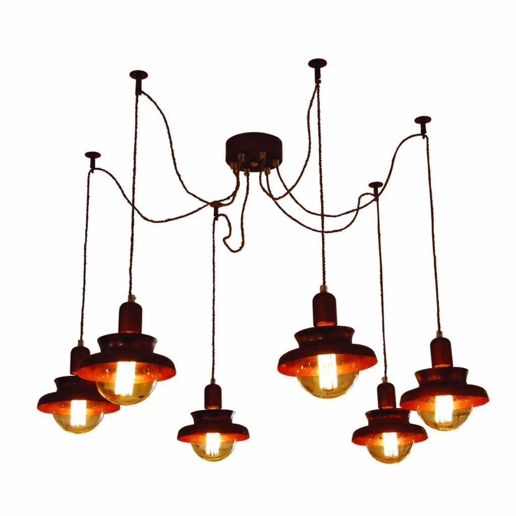 Hanglamp woonkamer industrieel koper 1800mm Ø E27x6