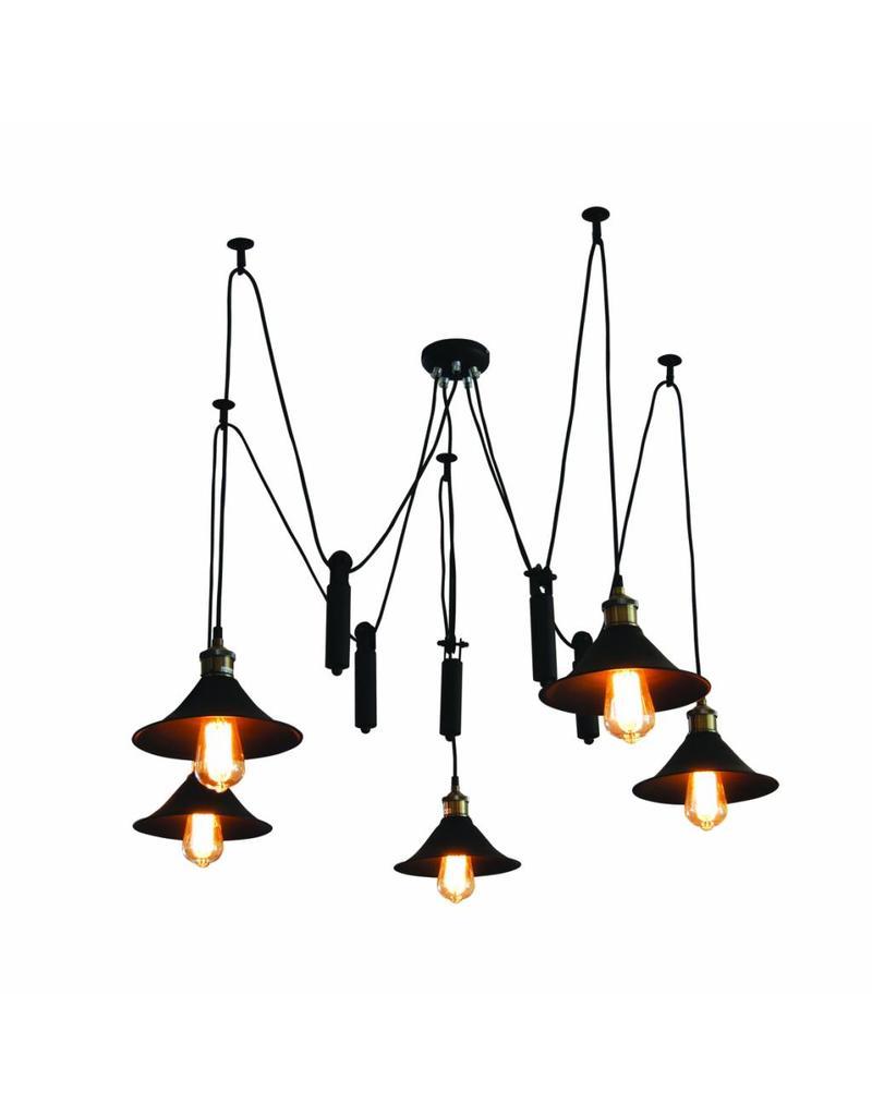 luminaire suspendu vintage noir 1200mm e27x5 myplanetled. Black Bedroom Furniture Sets. Home Design Ideas