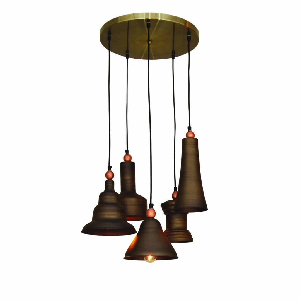 Luminaire suspendu vintage brun bronze 400mm e27x5 for Luminaire exterieur retro