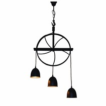 Hanglamp roestbruin of grijs vintage 310mm breed E27x3
