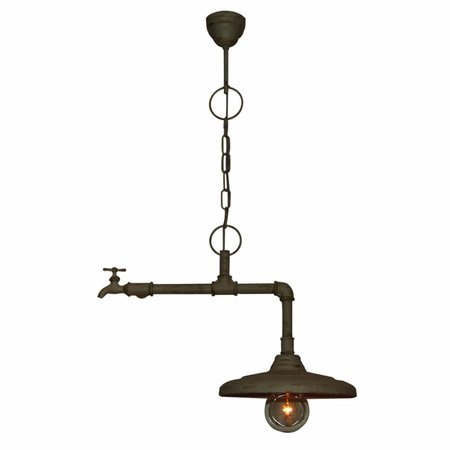 Hanglamp roestbruin of beige stoer kraan 500mm E27