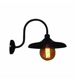 Wandlamp boog vintage met arm zwart 300mm diameter E27