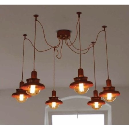 Pendant light copper industrial 1800mm Ø E27x6