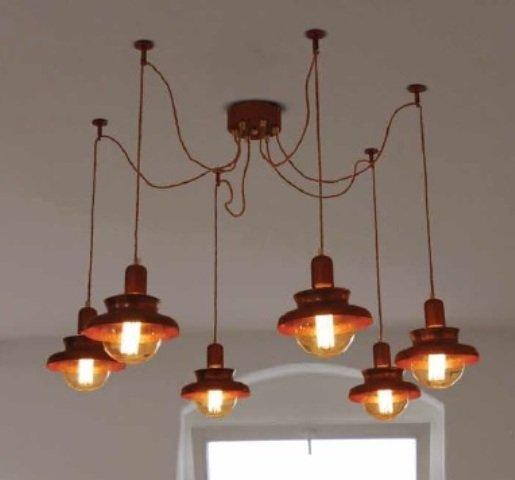 Hanglamp woonkamer industrieel koper 1800mm Ø E27x6 | Myplanetled