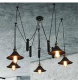 Pendant light black industrial 1200mm Ø E27x5