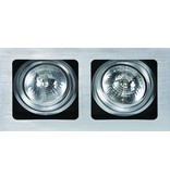 Downlight recessed GU10 or GX53 grey for 2 spots 354x190mm