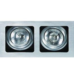 Downlight recessed GU10 or GX53 grey for 2 spots 354x190mm
