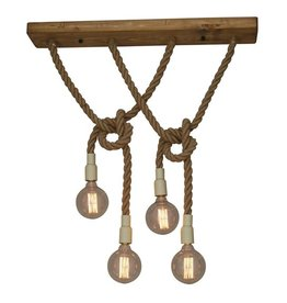 Hanglamp boven tafel touw hout E27x4 900x150mm