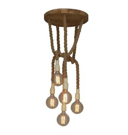 Hanglamp boven tafel touw hout rond vintage E27x5 450mm