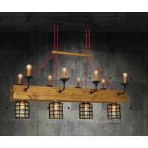 Luminaire suspendu vintage bois, verre 4xE27 8xE14