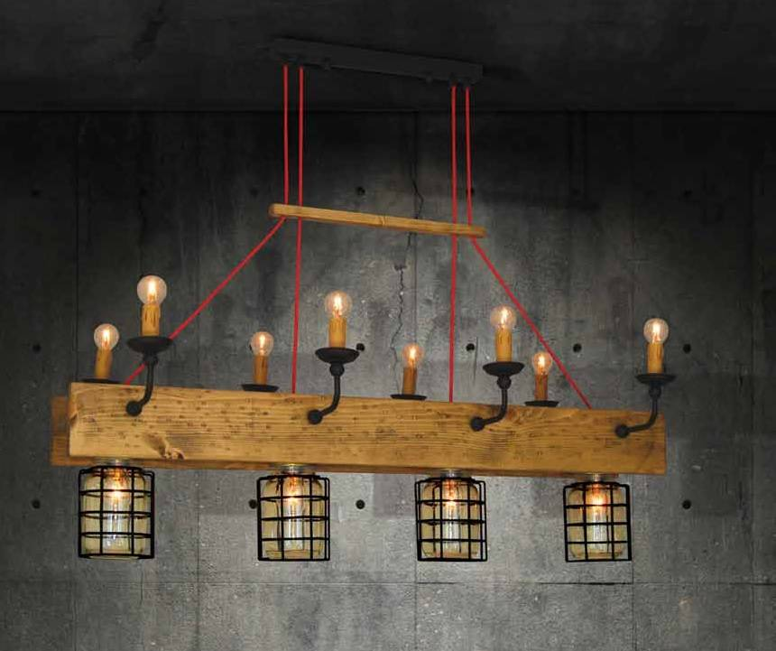 Hanglamp Kap 4xe27 Hout Industrieel Kaarslampen 8xe14 Myplanetled
