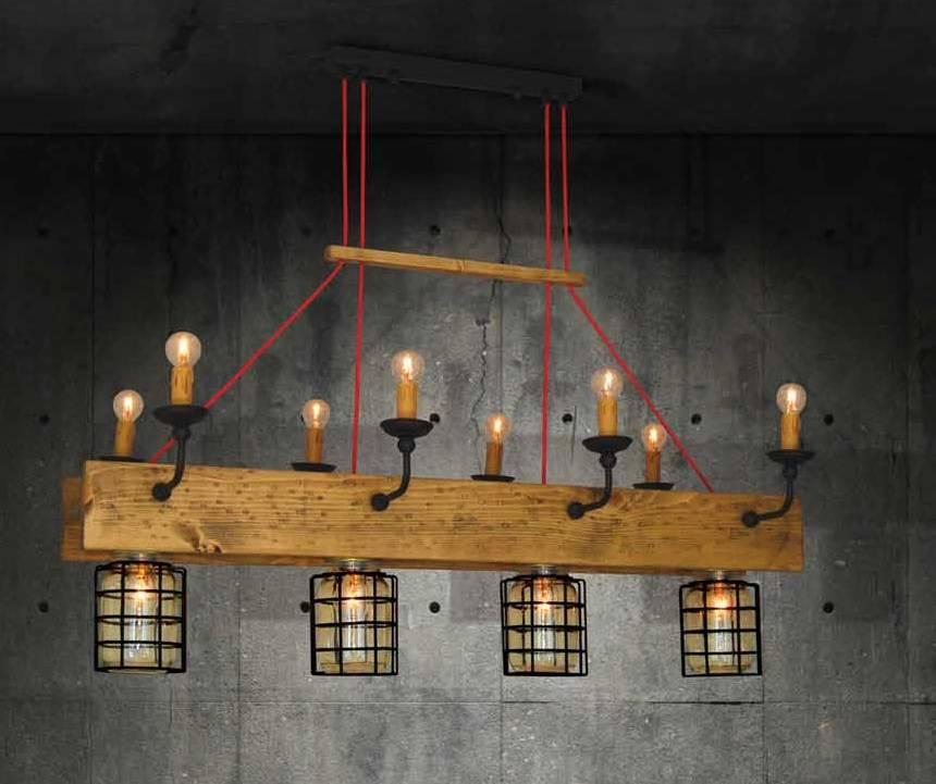 Pendant light chandelier wood, glass vintage 4xE27 + 8xE14