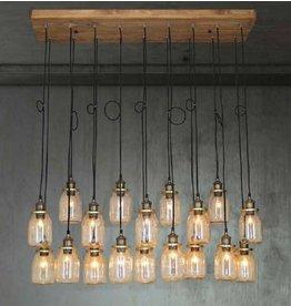 Pendant light glass industrial wood E27x18 1300mm