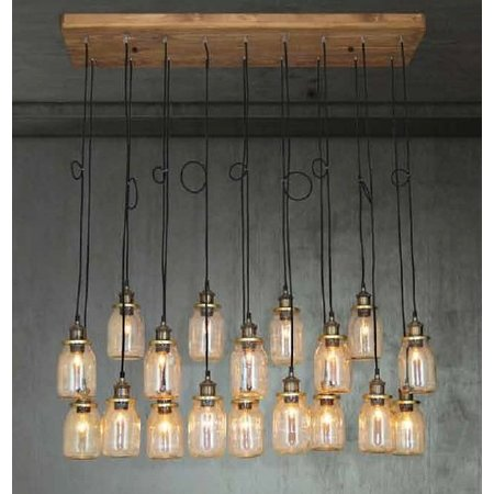 Hanglamp woonkamer hout glas E27x18 1300mm