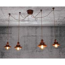 Luminaire suspendu vintage cuivre 1500mm Ø E27x4