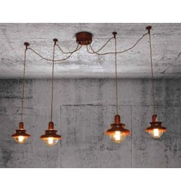 Hanglamp boven tafel industrieel koper 1500mm Ø E27x4
