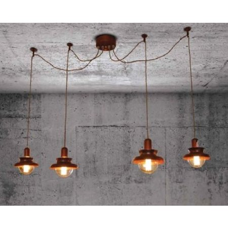 Pendant light copper industrial 1500mm Ø E27x4