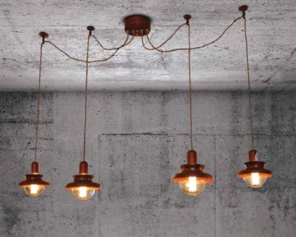 Pendant light copper industrial 1500mm Ø E27x4