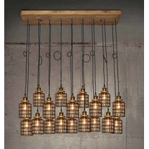 Hanglamp woonkamer hout glas gril vintage E27x18 1300mm