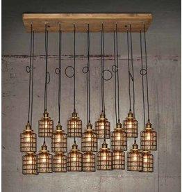 Pendant light glass industrial wood grid E27x18 1300mm
