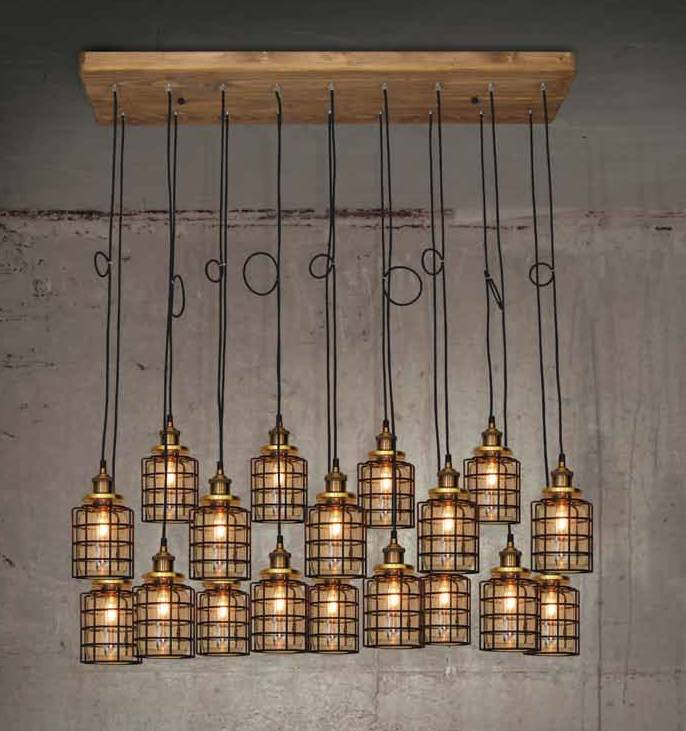 Hanglamp woonkamer hout glas gril vintage E27x18 1300mm | Myplanetled