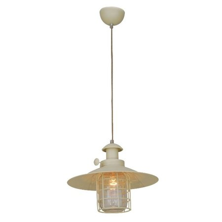 Luminaire suspendu vintage beige cage E27 340mm Ø