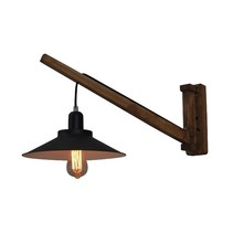 Wall light E27 wood vintage 310mm diameter black shade