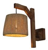 Wandlamp hout vintage 210mm diameter E27 koord kap