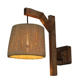 Wall light E27 wood vintage 210mm diameter cord shade