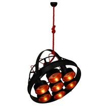 Hanglamp zwart koper industrieel 700mm Ø E27x7