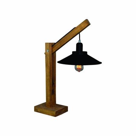 Tafellamp industrieel hout zwart 310mm diameter E27