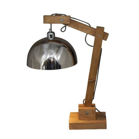 Table lamp E27 industrial wood chrome 780mm H