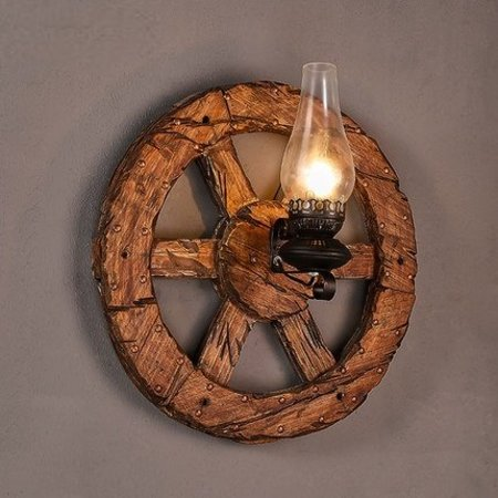Wall light sconce industrial wheel wood torch 580mm Ø