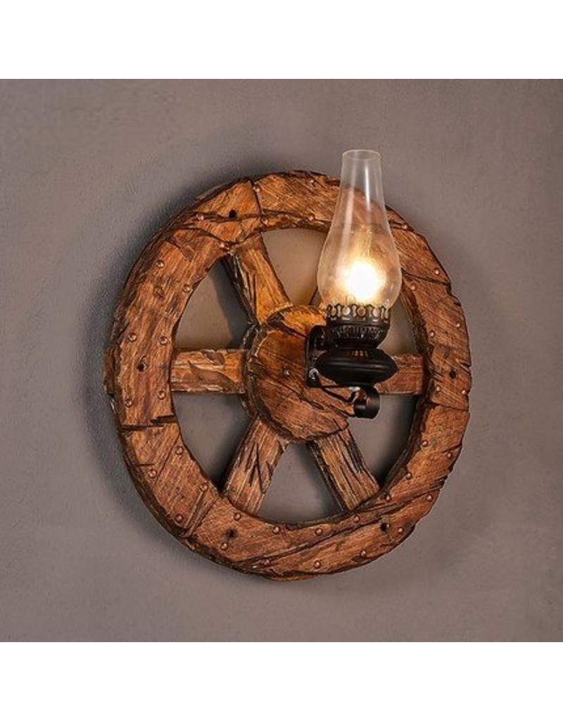 Applique murale industrielle roue bois torche 580mm for Applique murale exterieure industrielle